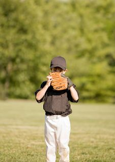 Free Little Boy Hiding Behind His Glove Stock Photo - 7738640