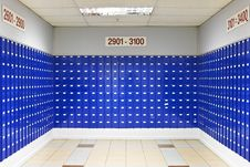 Room Of Blue Post Office Boxes Stock Photos