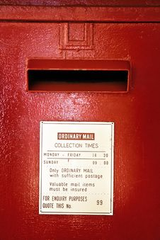 Free Mouth Of Red Pillar-style Post Box Stock Photo - 7738880