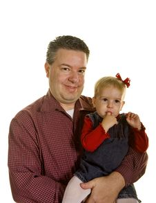 Free Father Smiling At Camera Baby Sucking Finger Royalty Free Stock Photos - 7738888