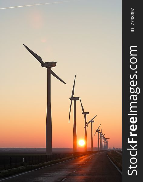 Wind park silhouettes at dawn