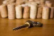 Stoppers And Old Corkscrew. Royalty Free Stock Photos