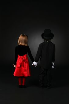 Children In Formal Clothing Standing Back To Stock Image