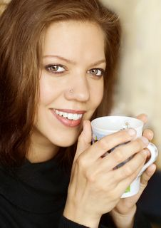 Free Woman Drinking Coffee Stock Images - 7741364