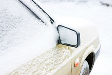 The Car Filled Up By Snow. Mirror With Snow Stock Image