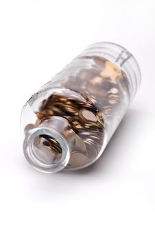 Free Glass Bottle Full Of Coins Stock Photos - 7742103