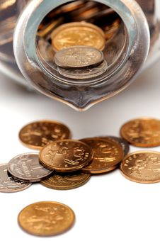 Free Glass Bottle Full Of Coins Royalty Free Stock Photos - 7742128
