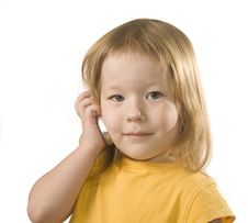 Small Girl Is Calling Royalty Free Stock Images