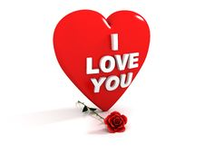 Free I Love You - Red Heart And Rose Stock Photography - 7743162