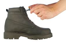 Free Tie Shoe-laces On Rough Boot Stock Photos - 7743623