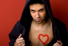 Free Portrait Of Young Man With  Heart Painted Royalty Free Stock Photo - 7745385