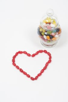 Free Jellybean Heart Candy Jar Royalty Free Stock Photos - 7746088