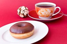 Free A Fresh Coffee With Donut Stock Photography - 7747082