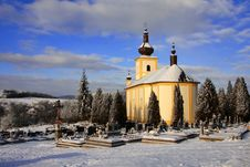 Free Old Church With Cemetery In The Winter Stock Photos - 7748533