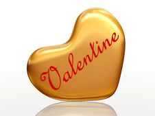 Free Valentine In Golden Heart Royalty Free Stock Photography - 7748657