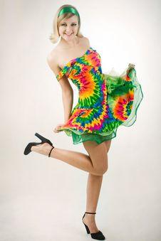 Girl In Bright Dress Stock Photo