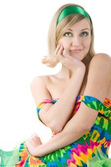 Girl In Bright Dress Stock Image