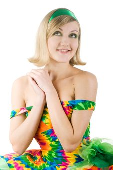 Girl In Bright Dress Royalty Free Stock Photos