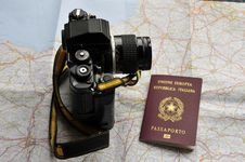 Map, Passport And Camera Royalty Free Stock Photography