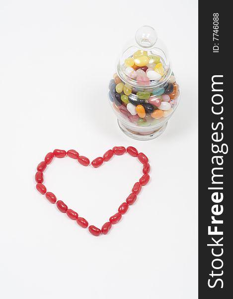 Jellybean heart candy jar