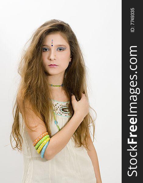 Fashion girl showing bracelets