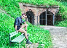 Free Punk Girl Sitting On The Bench Stock Image - 77446121