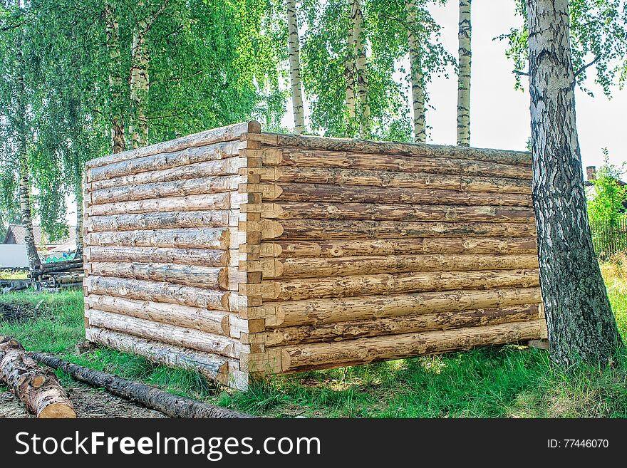 Construction of a wooden house, log cabin