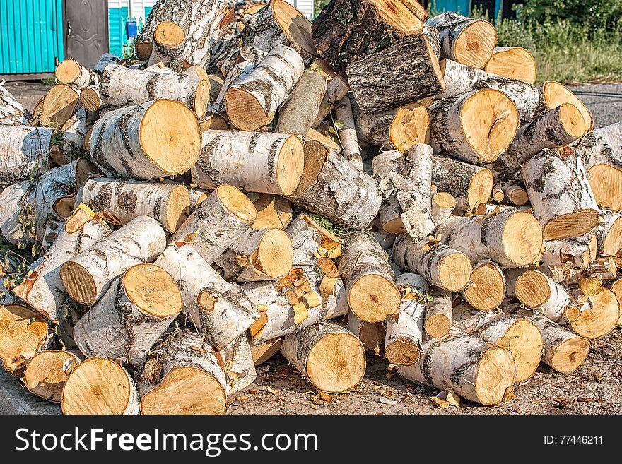 Chopped birch logs