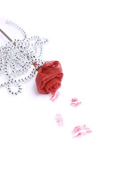 Free Rose With Several Red Lipstick Kisses Stock Photography - 7750052