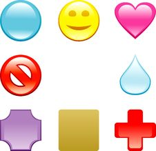 Glass Color Icons Royalty Free Stock Photo
