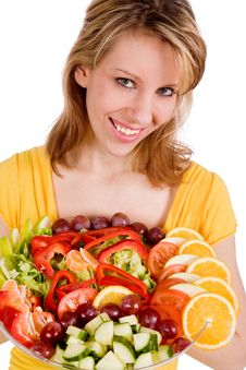 Free Happy Girl With Her Salad Stock Photos - 7751053