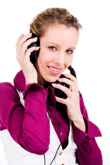 Free Commercial Girl With Headphones Royalty Free Stock Photos - 7751368