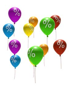 Free Balloons With Percent Symbols Royalty Free Stock Photo - 7751725