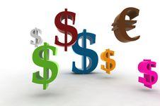 Dollar/euro Symbols Royalty Free Stock Photos