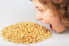 Free Popped Wheat Grains And Girl Royalty Free Stock Photo - 7751865