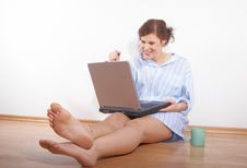Free Fresh Woman With Laptop Stock Image - 7752281