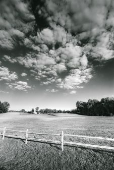 Field Fence And Pretty Sky Stock Image