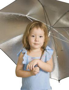 Free Small Pretty Girl With Umbrella Royalty Free Stock Photos - 7754138
