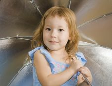 Free Small Pretty Girl With Umbrella Stock Images - 7754164