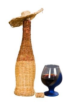 Bottle And Glass With Wine. Stock Image