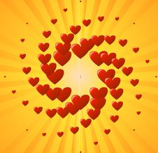 Free Yellow Background With Heart Royalty Free Stock Image - 7755196