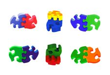Free Collection Of Painted Wooden Puzzles Royalty Free Stock Photography - 7755357