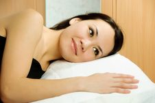 Beautiful Brunette Woman In Bed Stock Photography