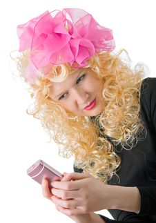 Free Blonde With A Big Pink Phone Stock Photo - 7756250