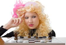 Free Glamor Blonde Plays A Chess Stock Images - 7756314