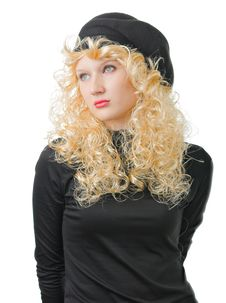 Blonde Is In A Black Cap Stock Photo