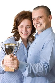 Businessteam With Trophy Over White Background Royalty Free Stock Photos