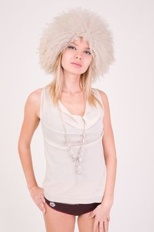 Free Upset Girl In Furry Hat Stock Photography - 7759562