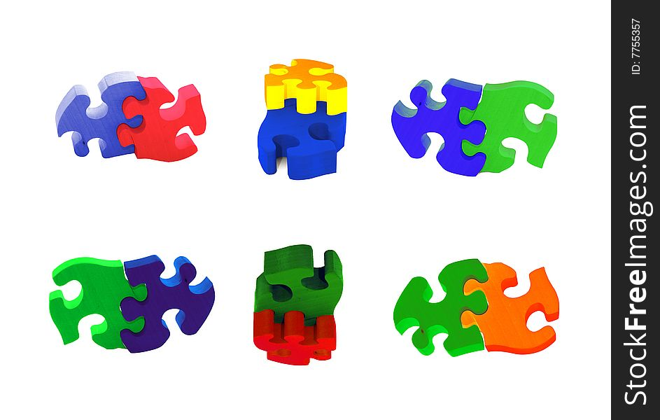 Collection of painted wooden puzzles