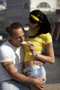 Free Playful Love Couple Smiling At Sunny Day Stock Images - 7763214